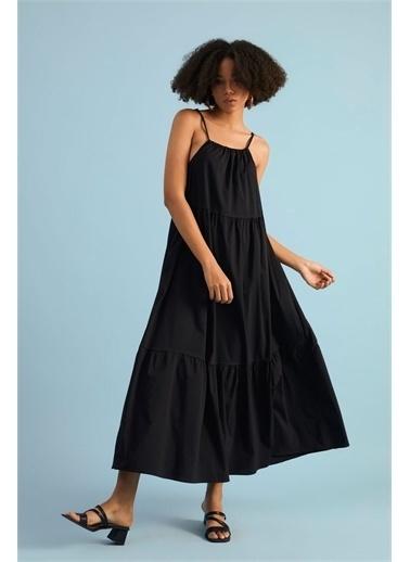 Z Giyim Kadın  Ekru  Askılı Keten Elbise Siyah